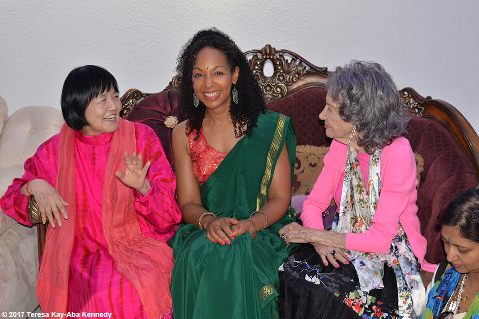 Yogmata Keiko Aikawa, Teresa Kay-Aba Kennedy and 98-year-old yoga master Tao Porchon-Lynch in Bangalore, India - June 20, 2017