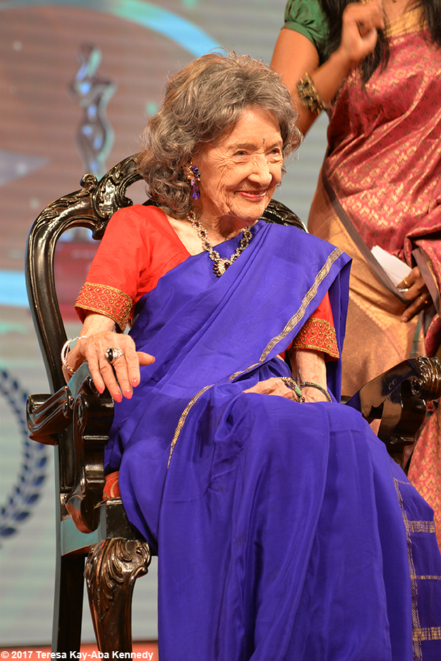 98-year-old yoga master Tao Porchon-Lynch being honored at Yoga Ratna Awards in Bangalore, India - June 20, 2017
