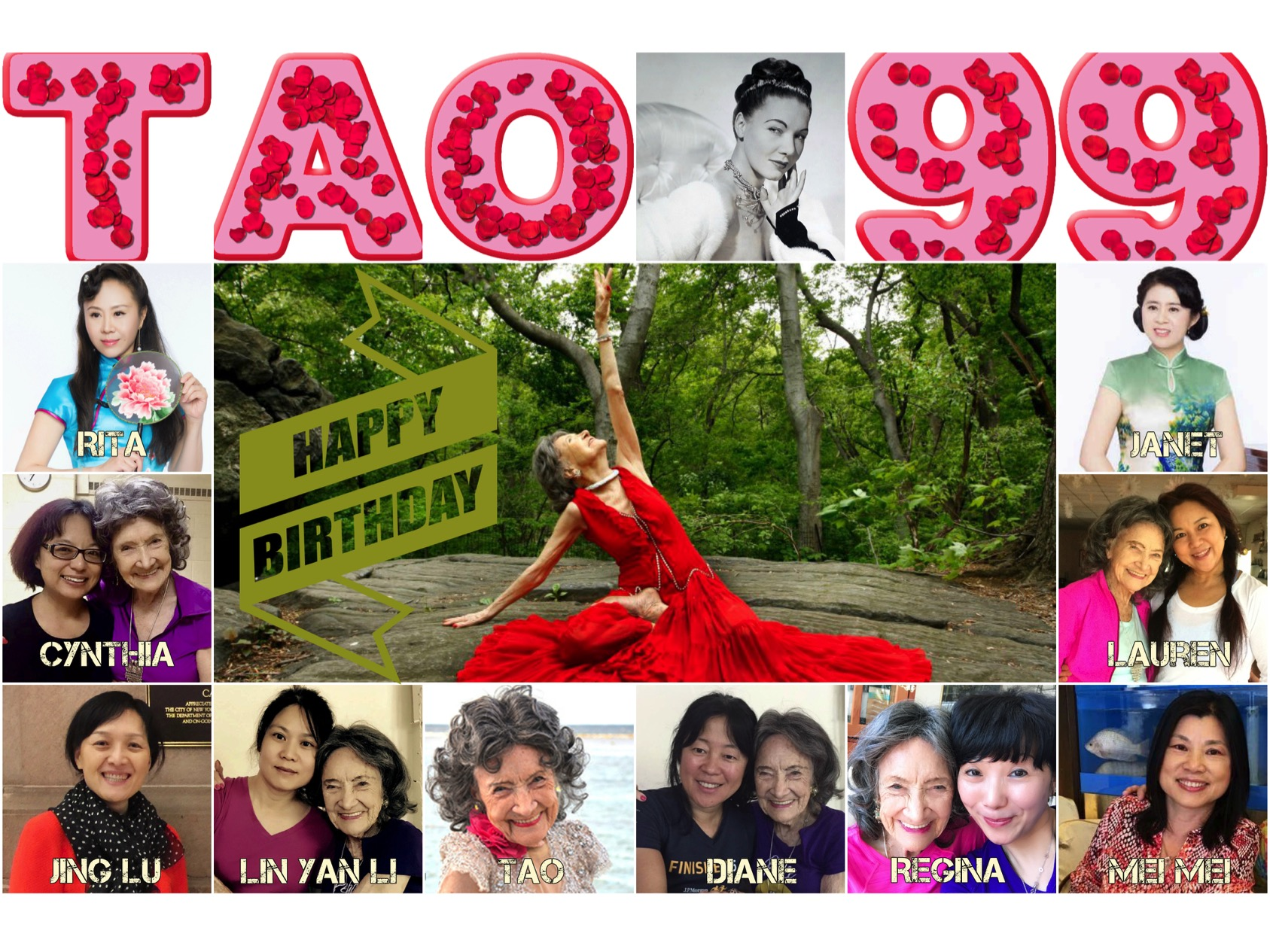 99th Birthday Collage for Tao Porchon-Lynch created by Regina Lee
