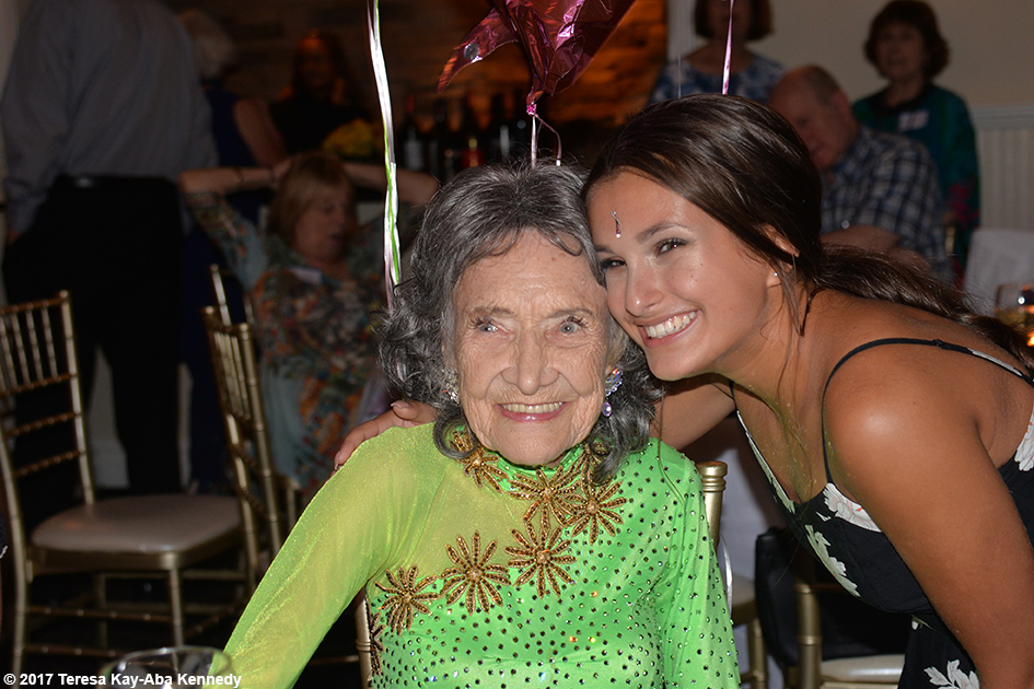 Sophia Mirrione with Yoga Master Tao Porchon-Lynch at her 99th Birthday Party at the Mansion on Broadway in White Plains, NY - August 13, 2017
