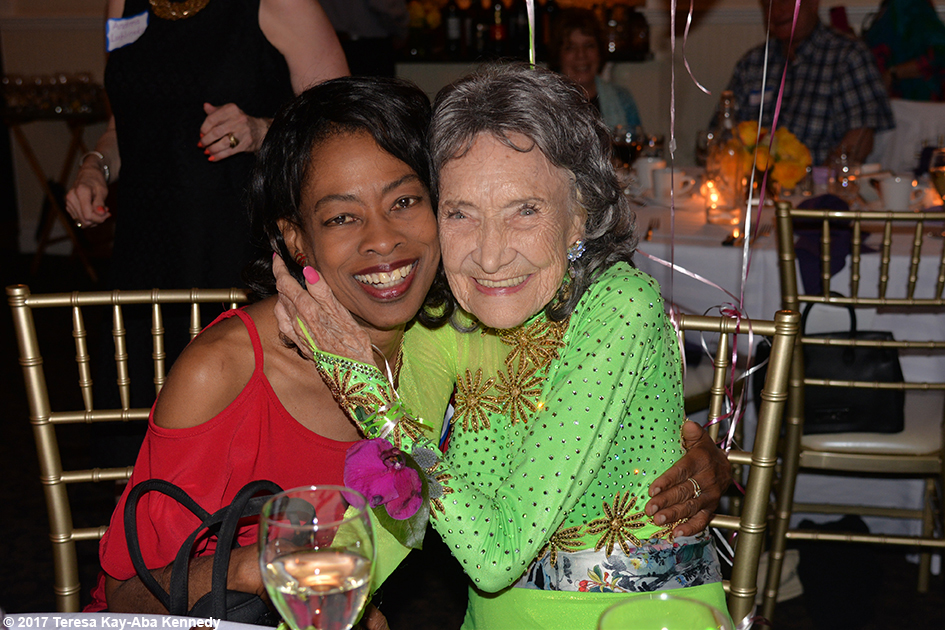 Pam McFarlane with Yoga Master Tao Porchon-Lynch at her 99th Birthday Party at the Mansion on Broadway in White Plains, NY - August 13, 2017