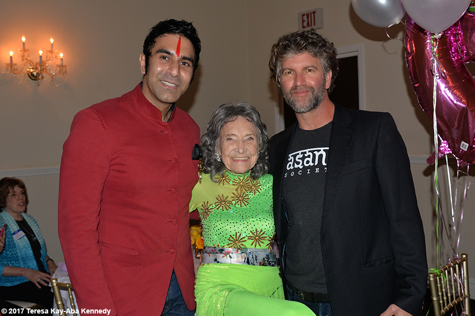 Sandip Soparrkar, Tao Porchon-Lynch and Robert Sturman at Tao's 99th Birthday Party at the Mansion on Broadway in White Plains, NY - August 13, 2017