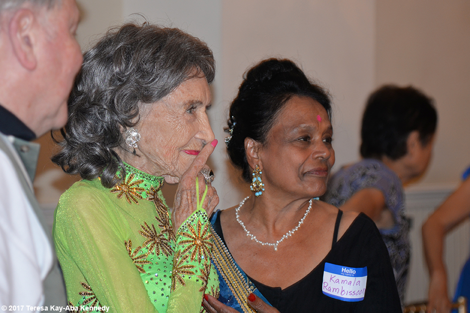 Kamala Rambissoon with Yoga Master Tao Porchon-Lynch at her 99th Birthday Party at the Mansion on Broadway in White Plains, NY - August 13, 2017