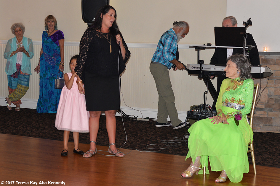 Joanna Rajendran and Natasha Tao giving tribute to Tao Porchon-Lynch at her 99th Birthday Party at the Mansion on Broadway in White Plains - August 13, 2017
