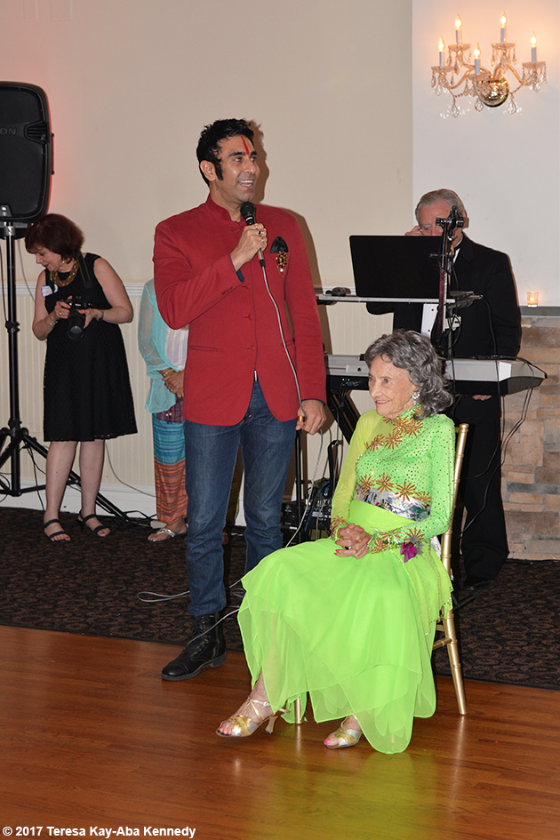 Sandip Soparrkar with Tao Porchon-Lynch at Tao's 99th Birthday Party at the Mansion on Broadway in White Plains - August 13, 2017