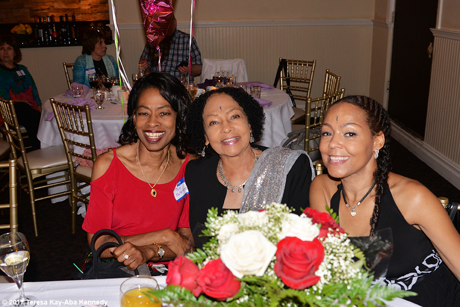 Pam McFarlane, Janie Sykes-Kennedy and Sheila Kennedy Bryant at Yoga Master Tao Porchon-Lynch's 99th Birthday Party at the Mansion on Broadway in White Plains, NY - August 13, 2017