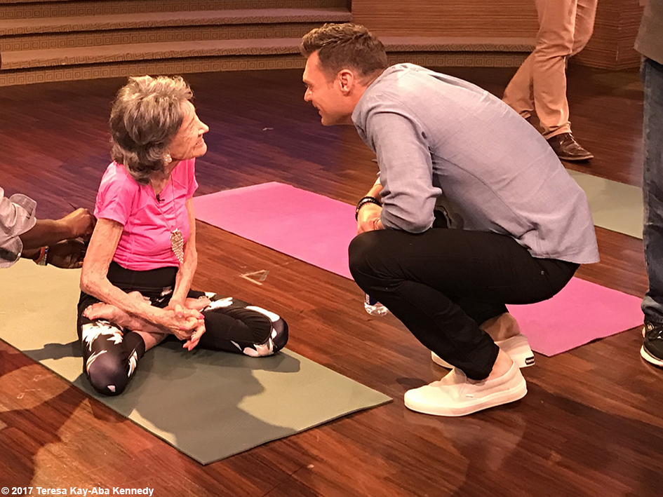 99-year-old Yoga Master and Competitive Ballroom Dancer Tao Porchon-Lynch with Ryan Seacrest before filming of LIVE with Kelly & Ryan - September 13, 2017