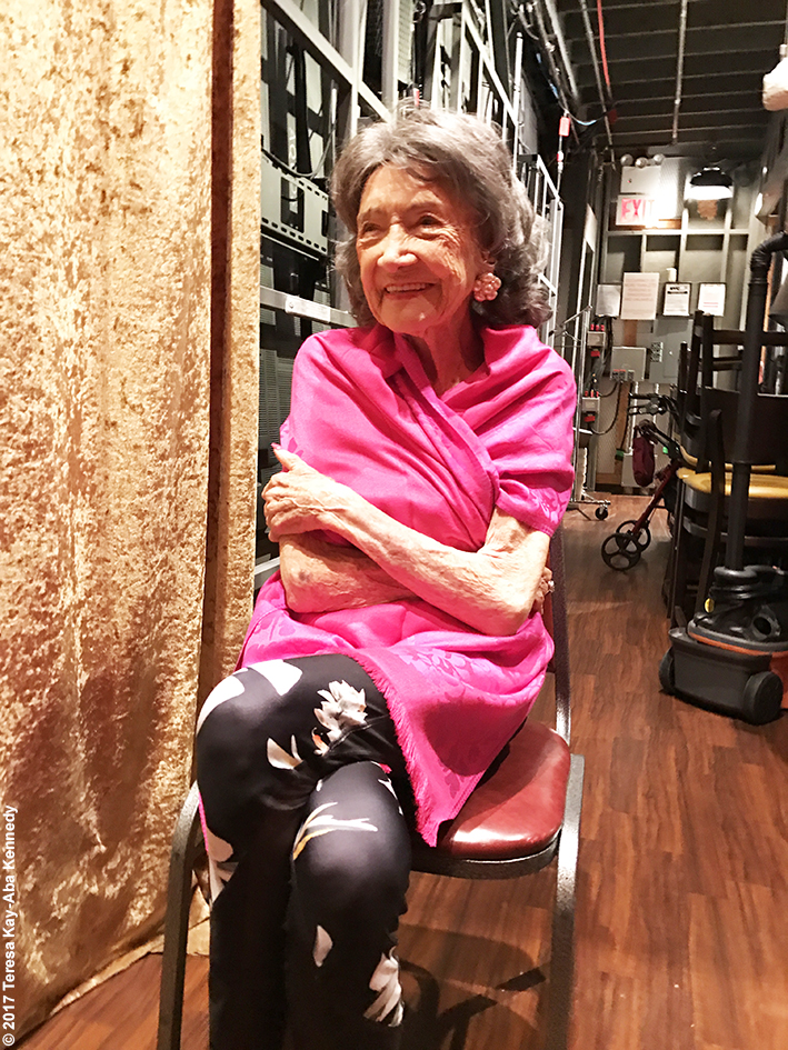 99-year-old Yoga Master and Competitive Ballroom Dancer Tao Porchon-Lynch backstage at LIVE with Kelly & Ryan - September 13, 2017