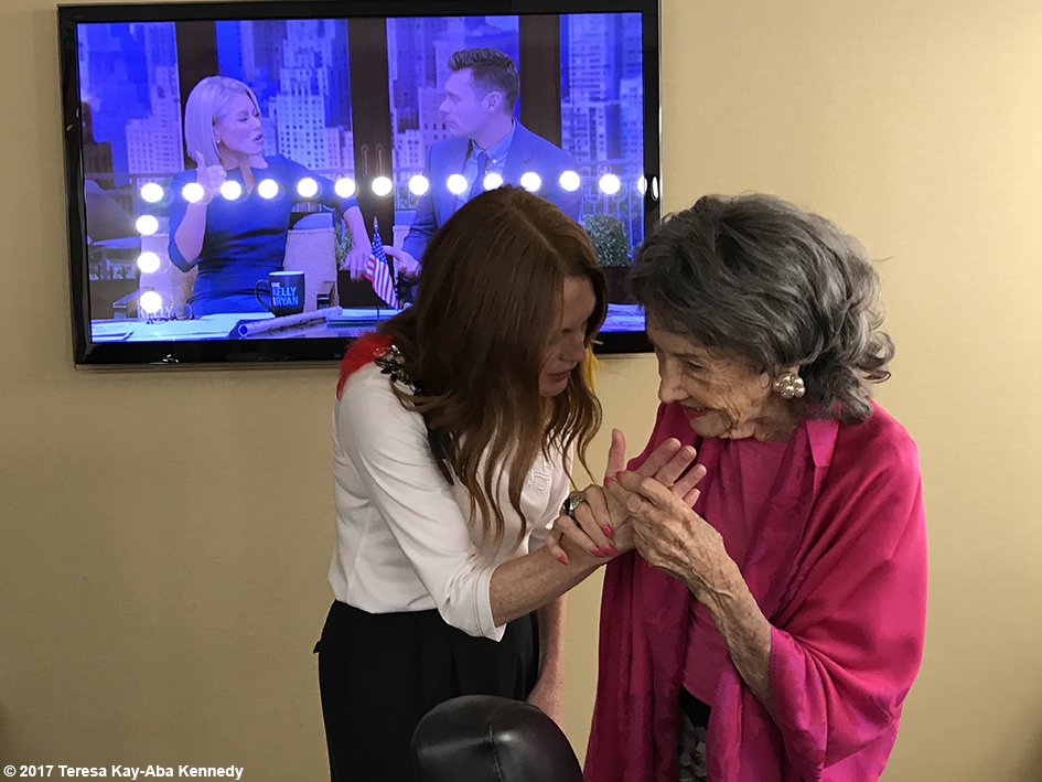 Actress Julianne Moore with 99-year-old Yoga Master and Competitive Ballroom Dancer Tao Porchon-Lynch in the green room for LIVE with Kelly & Ryan - September 13, 2017
