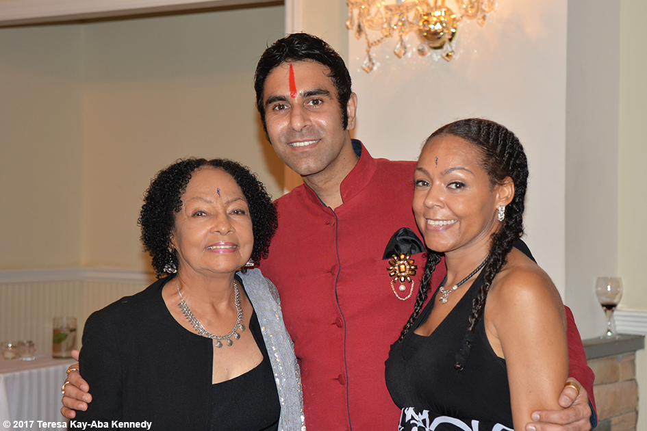 Janie Sykes-Kennedy, Sandip Soparrkar and Sheila Kennedy Bryant at Tao Porchon-Lynch's 99th Birthday Party at the Mansion on Broadway in White Plains - August 13, 2017