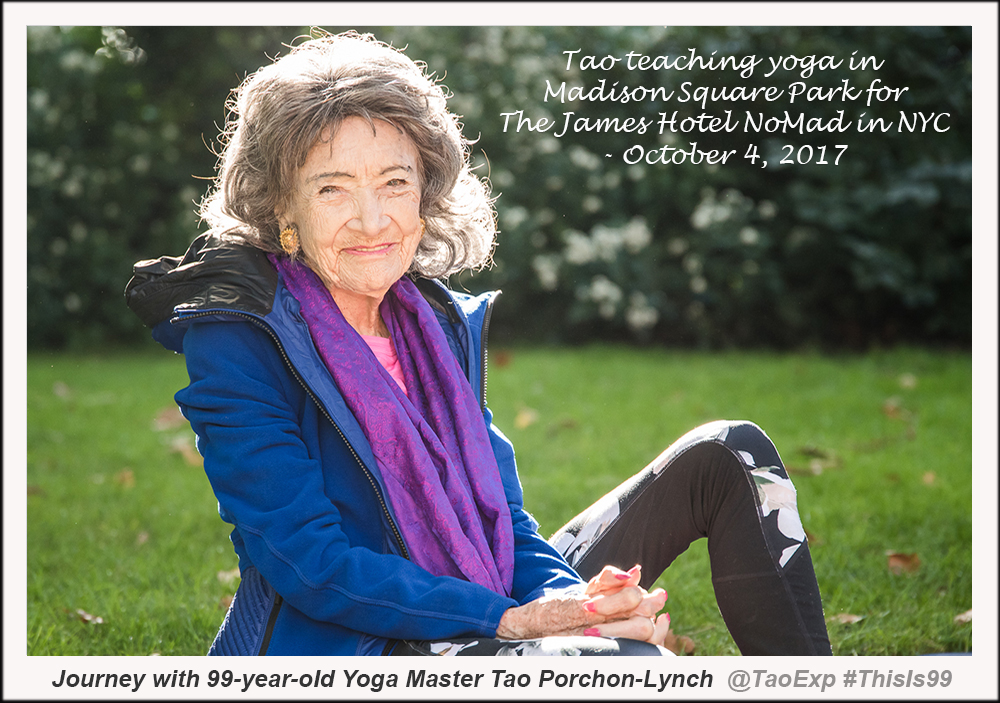 99-year-old yoga master Tao Porchon-Lynch at Madison Square Park for The James Hotel - October 4, 2017