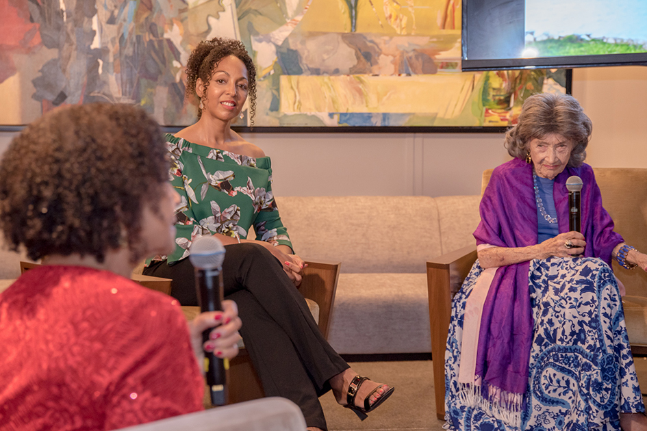 99-year-old yoga master Tao Porchon-Lynch, Teresa Kay-Aba Kennedy and Janie Sykes-Kennedy during Conversation with a Master talk at The James Hotel - October 3, 2017