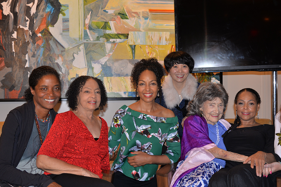 Ghylian Bell, Janie Sykes-Kennedy, Teresa Kay-Aba Kennedy, Regina Lee, 99-year-old yoga master Tao Porchon-Lynch and Sheila Kennedy Bryant after Conversation with a Master at The James Hotel NoMad - October 3, 2017