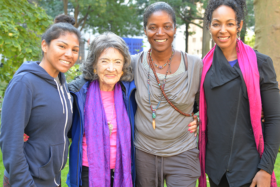 99-year-old Tao Porchon-Lynch with Ghylian Bell and Teresa Kay-Aba Kennedy after teaching yoga at Madison Square Park for The James Hotel NoMad - October 4, 2017