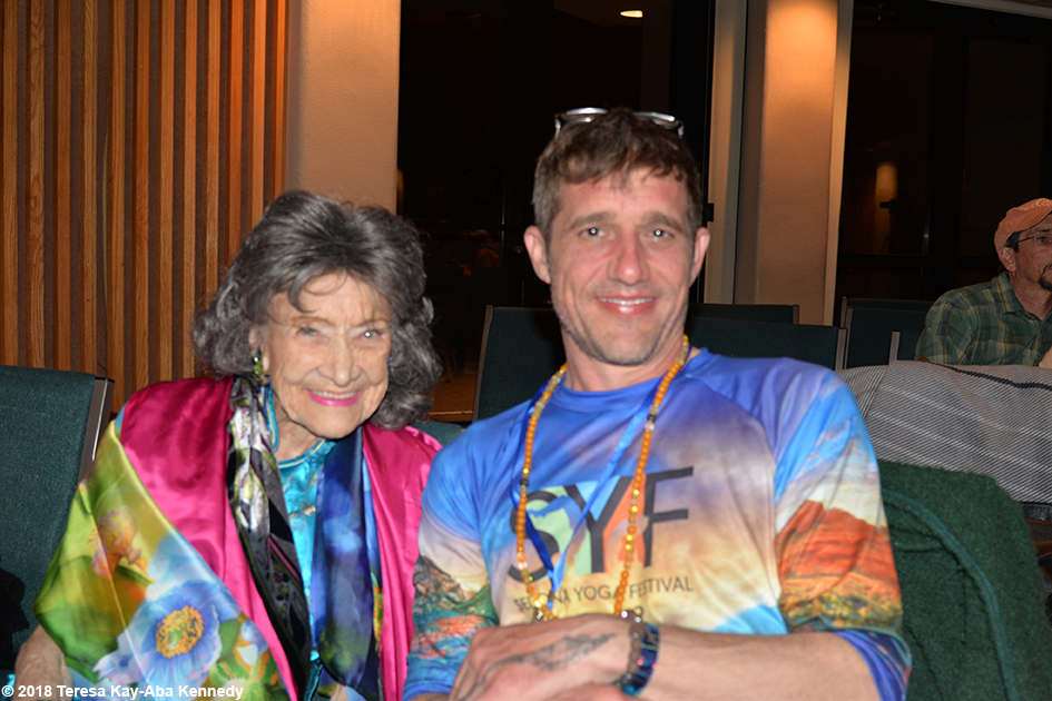 99-year-old yoga master Tao Porchon-Lynch with Marc Titus at the Sedona Yoga Festival - February 9, 2018