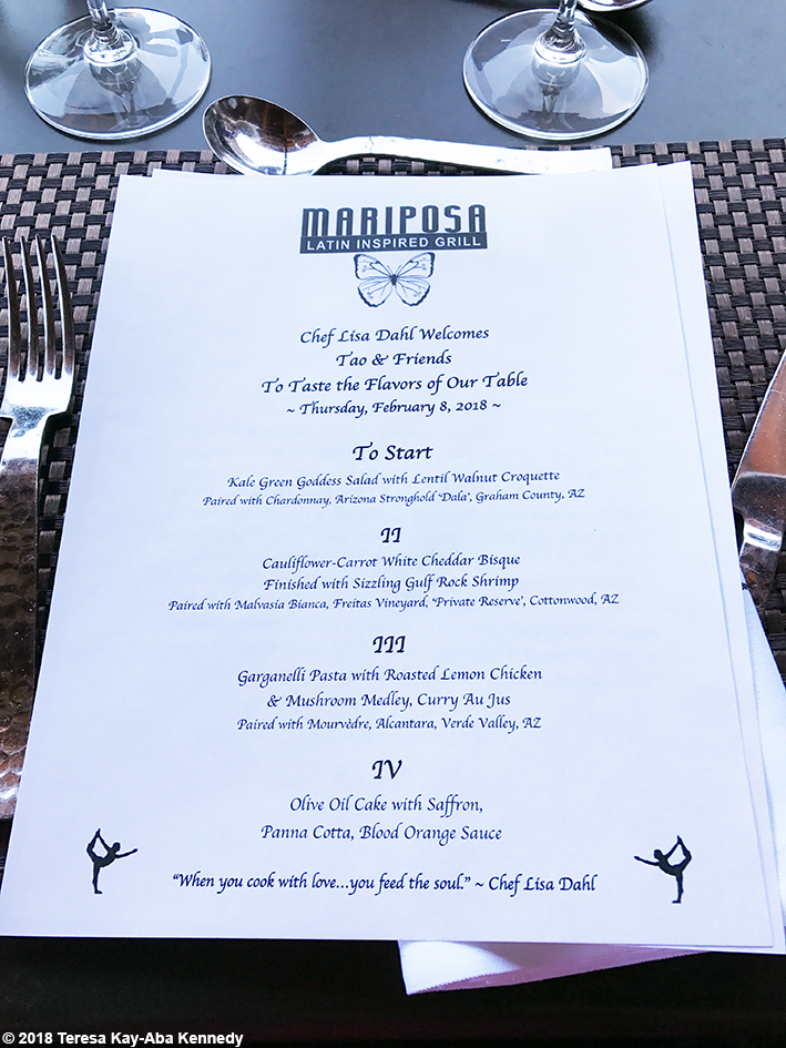 Menu at Mariposa Restaurant for luncheon with 99-year-old yoga master Tao Porchon-Lynch as part of the Sedona Yoga Festival - February 8, 2018
