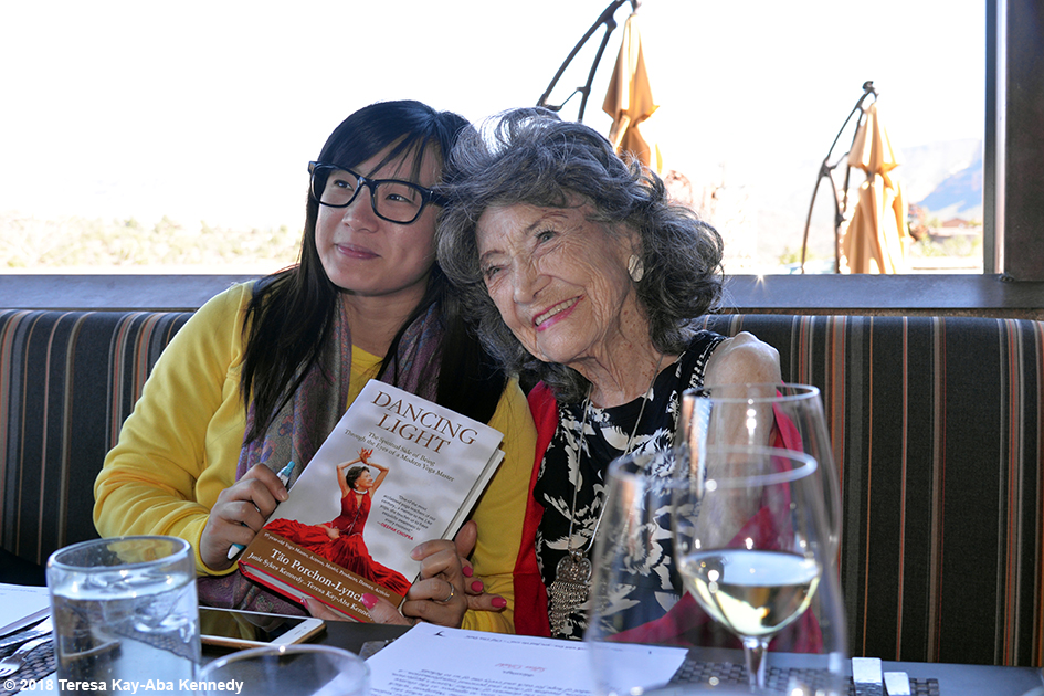 99-year-old yoga master Tao Porchon-Lynch at Mariposa Restaurant as part of the Sedona Yoga Festival - February 8, 2018