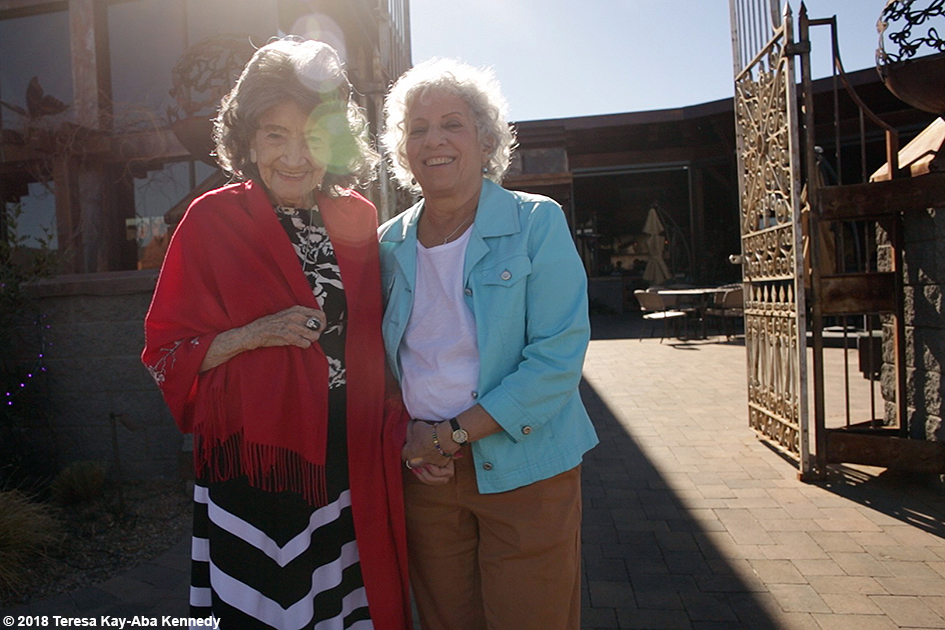 99-year-old yoga master Tao Porchon-Lynch and Joyce Pines at Mariposa Restaurant as part of the Sedona Yoga Festival - February 8, 2018