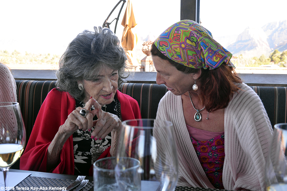 Brenda Clark with 99-year-old yoga master Tao Porchon-Lynch at Mariposa Restaurant as part of the Sedona Yoga Festival - February 8, 2018