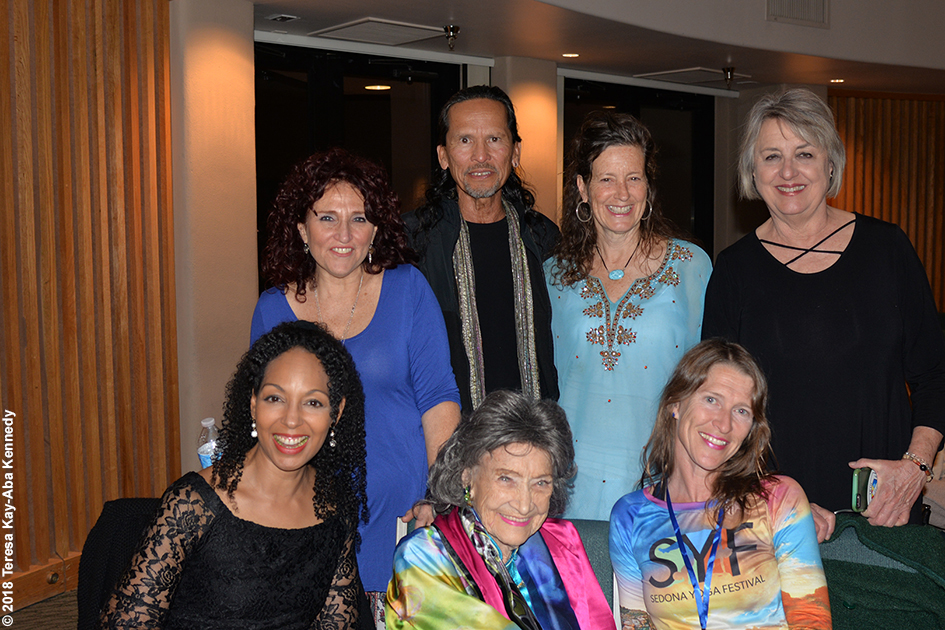 Teresa Kay-Aba Kennedy, Valerie Romanoff, Jesse Kalu, Ruth Hurting, Ginny Beal, and Heather Titus with 99-year-old yoga master Tao Porchon-Lynch at the Sedona Yoga Festival - February 9, 2018