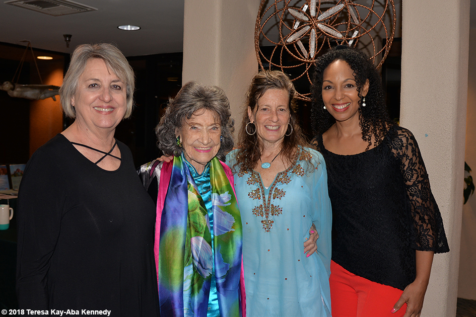 Ginny Beal, 99-year-old yoga master Tao Porchon-Lynch, Ruth Hartung and Teresa Kay-Aba Kennedy at the Sedona Yoga Festival - February 9, 2018