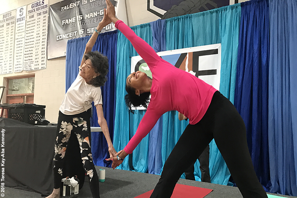 99-year-old yoga master Tao Porchon-Lynch and Teresa Kay-Aba Kennedy at the Sedona Yoga Festival - February 10, 2018