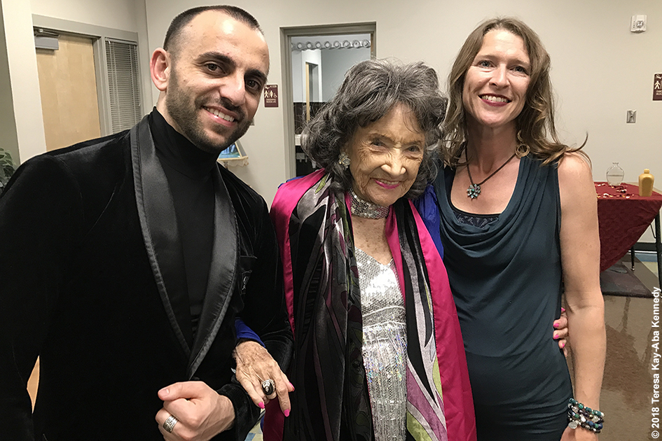 Vard Margaryan, 99-year-old yoga master Tao Porchon-Lynch and Heather Titus at the Sedona Yoga Festival - February 10, 2018