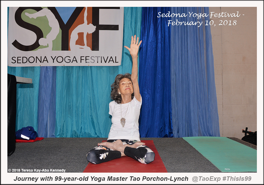 99-year-old yoga master Tao Porchon-Lynch teaching at the Sedona Yoga Festival - February 10, 2018