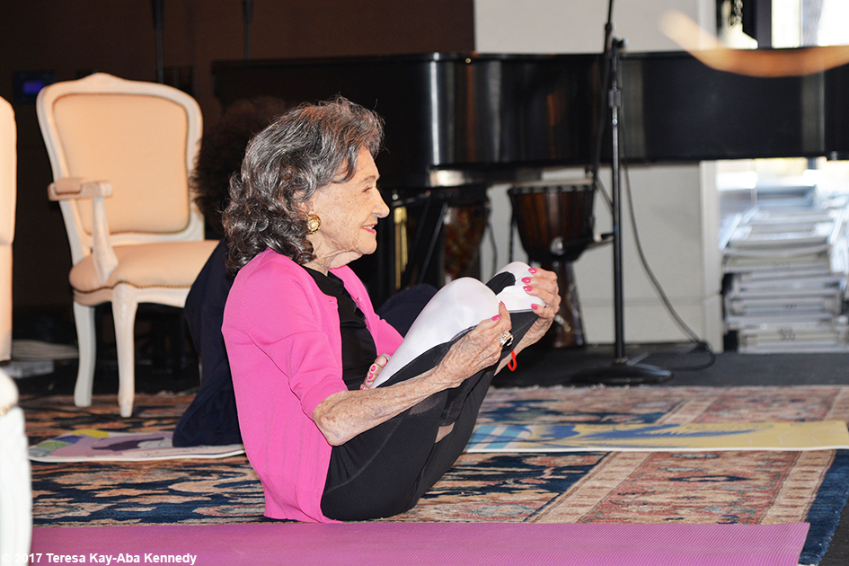 99-year-old yoga master Tao Porchon-Lynch teaching at Lead With Love Conference in Aspen, Colorado – October 27, 2017