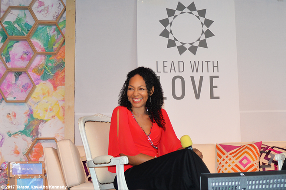 Teresa Kay-Aba Kennedy moderating Conversation with a Master with 99-year-old Tao Porchon-Lynch at the Lead With Love Conference in Aspen, Colorado – October 26, 2017
