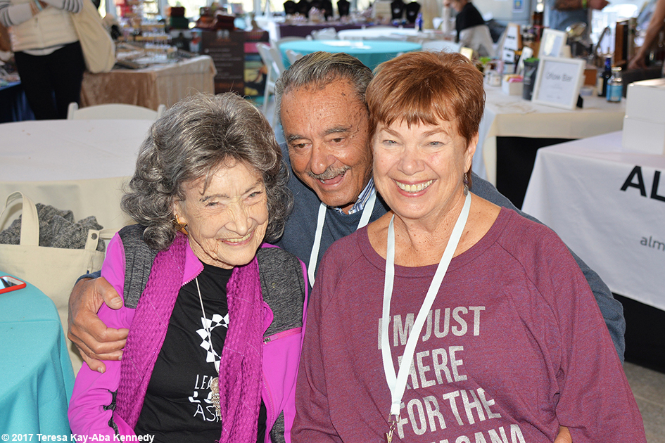 99-year-old yoga master Tao Porchon-Lynch with the Murdock family at Lead With Love Conference in Aspen, Colorado – October 27, 2017