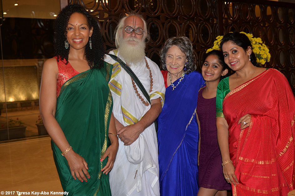 Teresa Kay-Aba Kennedy, Jagadananda Das, 98-year-old yoga master Tao Porchon-Lynch, Aarya Prabhu and Anuradha Prabhu in Bangalore, India - June 20, 2017