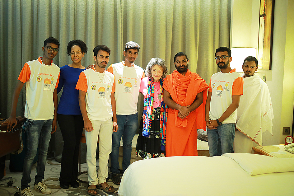 Greeting between 98-year-old yoga master Tao Porchon-Lynch, Teresa Kay-Aba Kennedy, Shwaasa Guru and his core team at Shangri-La Hotel in Bangalore, India - June 18, 2017