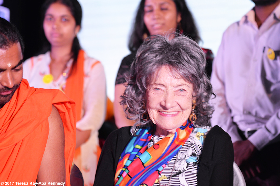 98-year-old yoga master Tao Porchon-Lynch at award ceremony in Bangalore, India - June 19, 2017