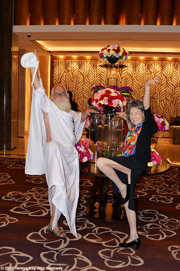 98-year-old yoga master Tao Porchon-Lynch and Jagadananda Das after award ceremony in Bangalore, India - June 19, 2017