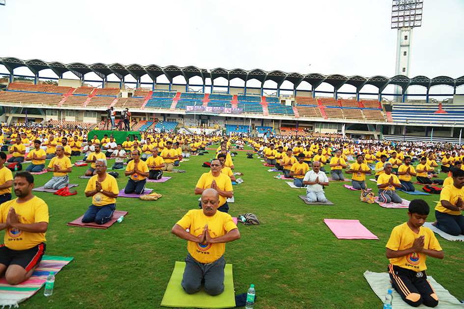 Participants in International Day of Yoga at Kanteerava Outdoor Stadium in Bangalore, India - June 21, 2017