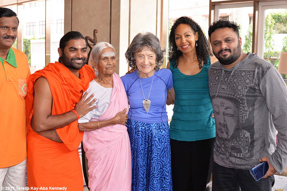 V. Balakrishnan, Shwaasa Guru, 97-year-old Amma V. Nanammal, 98-year-old yoga master Tao Porchon-Lynch, and Teresa Kay-Aba Kennedy in Bangalore, India - June 20, 2017