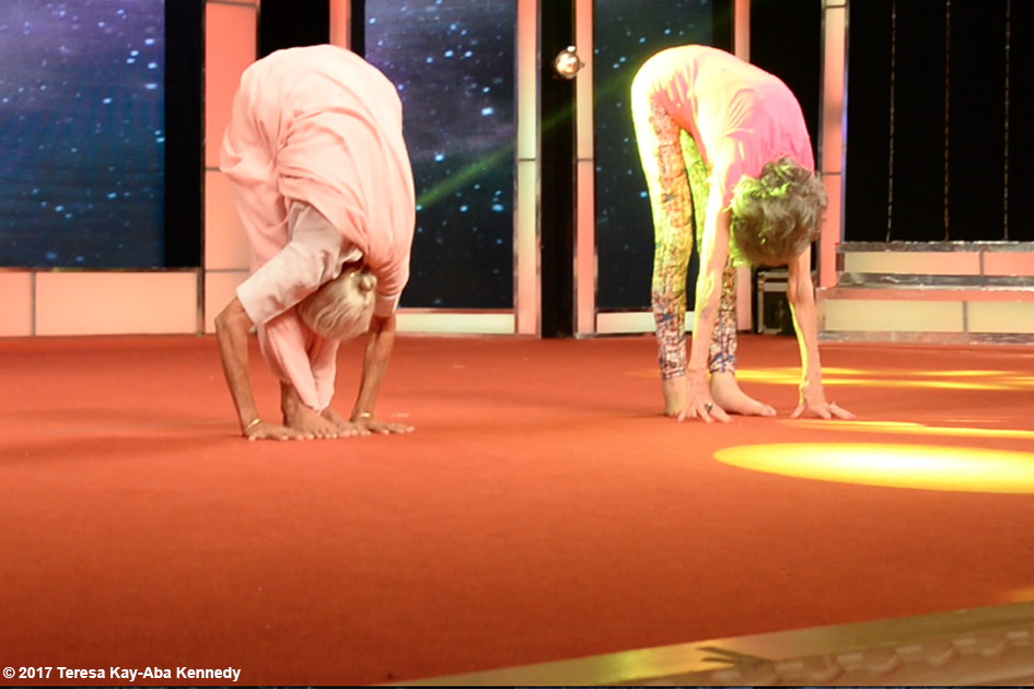 97-year-old Amma V. Nanammal and 98-year-old Tao Porchon-Lynch demonstrating asanas during Yoga Ratna Awards in Bangalore, India - June 20, 2017