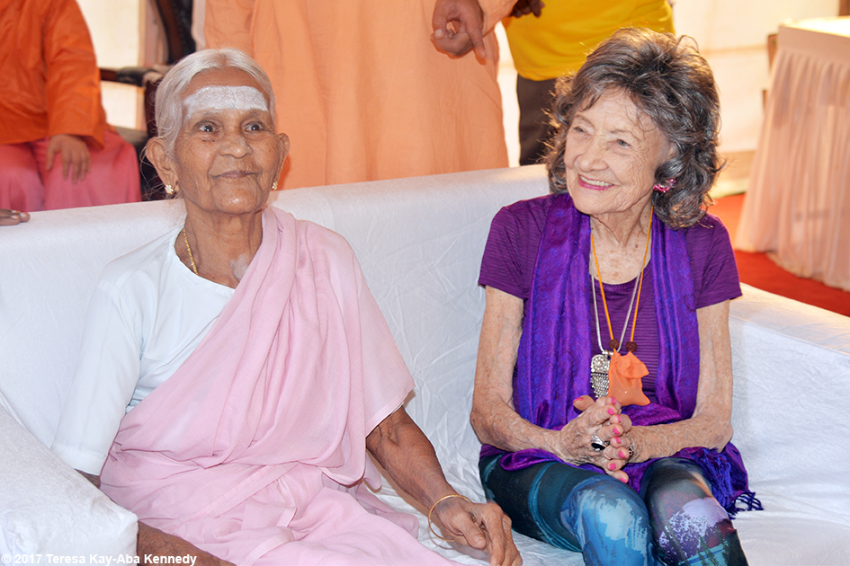 97-year-old Amma V. Nanammal and 98-year-old yoga master Tao Porchon-Lynch in the green room at International Day of Yoga at Kanteerava Outdoor Stadium in Bangalore, India - June 21, 2017
