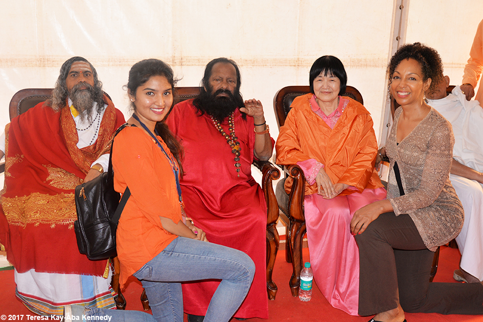 Nimma Seenu, Pilot Baba, Yogmata Keiko Aikawa and Teresa Kay-Aba Kennedy in the green room at International Day of Yoga at Kanteerava Outdoor Stadium in Bangalore, India - June 21, 2017