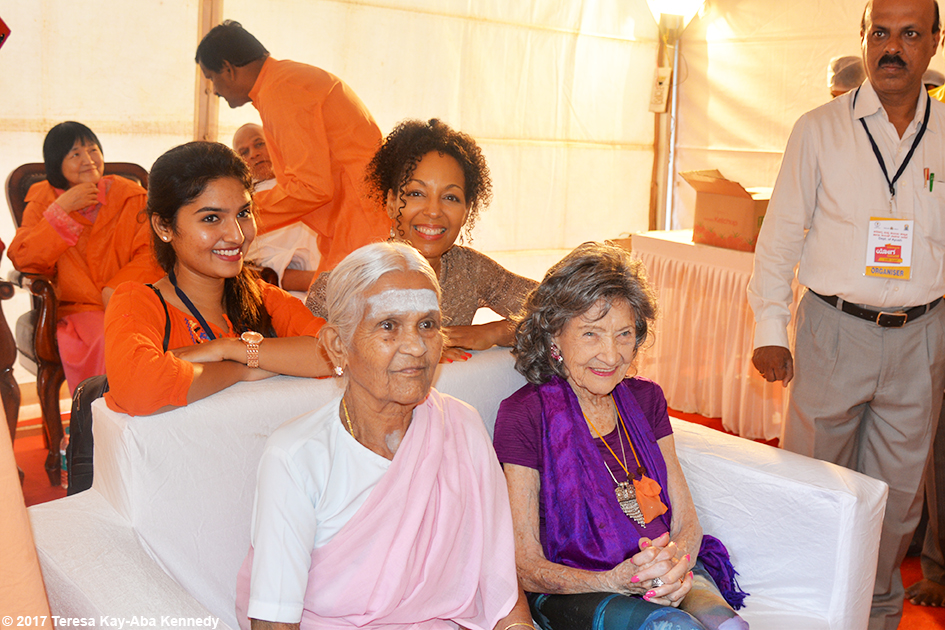 Nimma Seenu, Teresa Kay-Aba Kennedy, 97-year-old Amma V. Nanammal and 98-year-old yoga master Tao Porchon-Lynch in the green room at International Day of Yoga at Kanteerava Outdoor Stadium in Bangalore, India - June 21, 2017