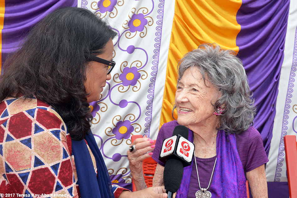 98-year-old yoga master Tao Porchon-Lynch doing media interview for International Day of Yoga at Kanteerava Outdoor Stadium in Bangalore, India - June 21, 2017