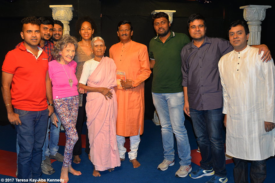 98-year-old yoga master Tao Porchon-Lynch, 97-year-old Amma V. Nanammal, Teresa Kay-Aba Kennedy and the host and crew of TV9 in Bangalore, India - June 21, 2017