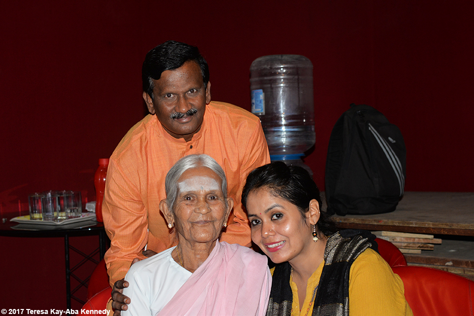 97-year-old Amma V. Nanammal and Anuradhu Prabhu on the set of TV9 in Bangalore, India - June 21, 2017