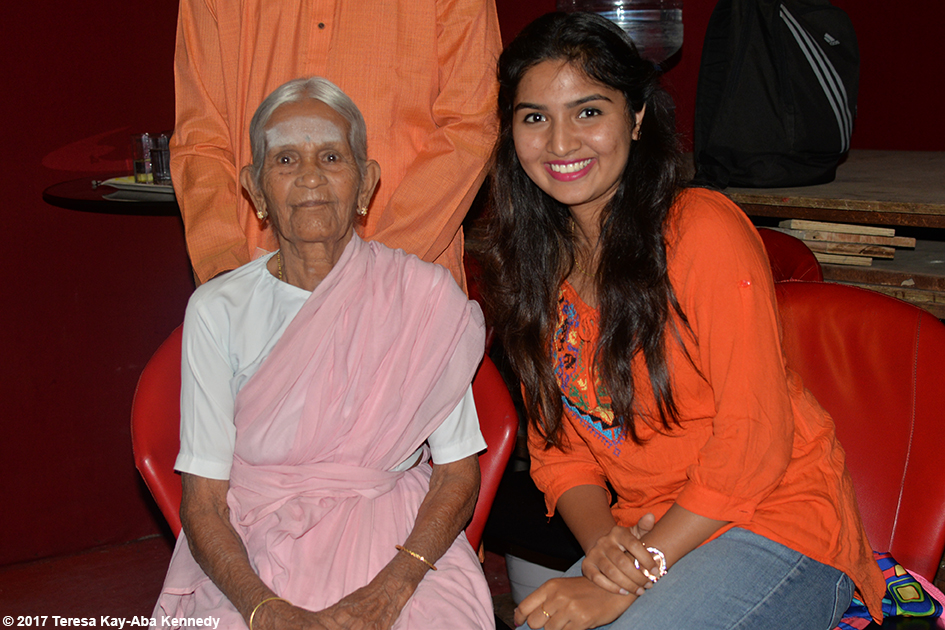 97-year-old Amma V. Nanammal and Nimma Seenu on the set of TV9 in Bangalore, India - June 21, 2017