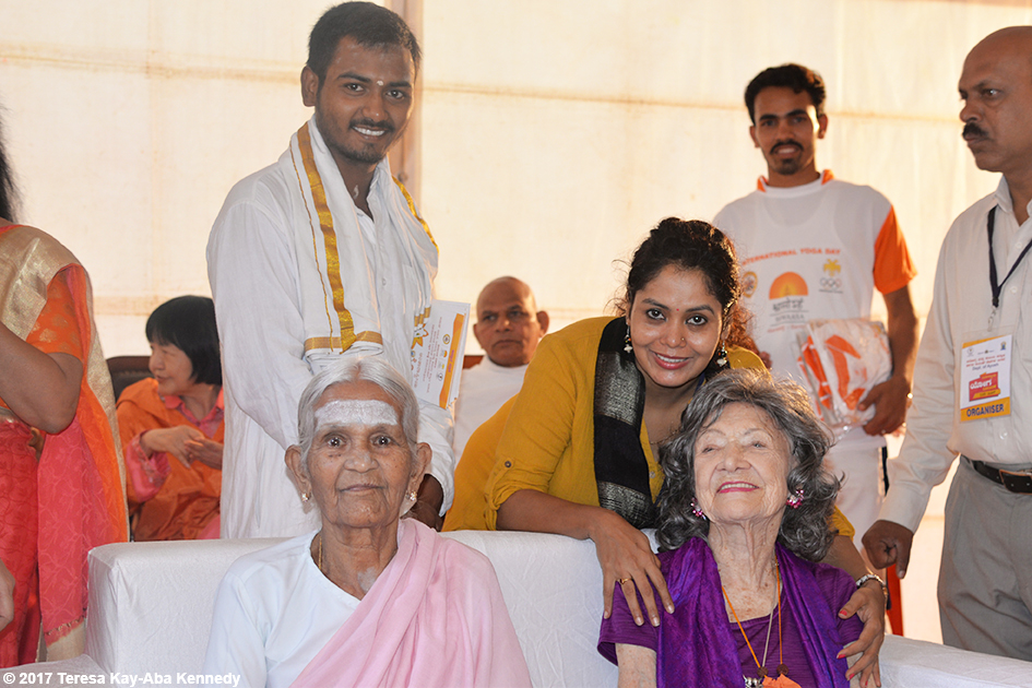 Anuradha Prabhu, 97-year-old Amma V. Nanammal and 98-year-old yoga master Tao Porchon-Lynch in the green room at International Day of Yoga at Kanteerava Outdoor Stadium in Bangalore, India - June 21, 2017